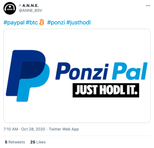 ANNE via Twitter on PayPal Crypto News