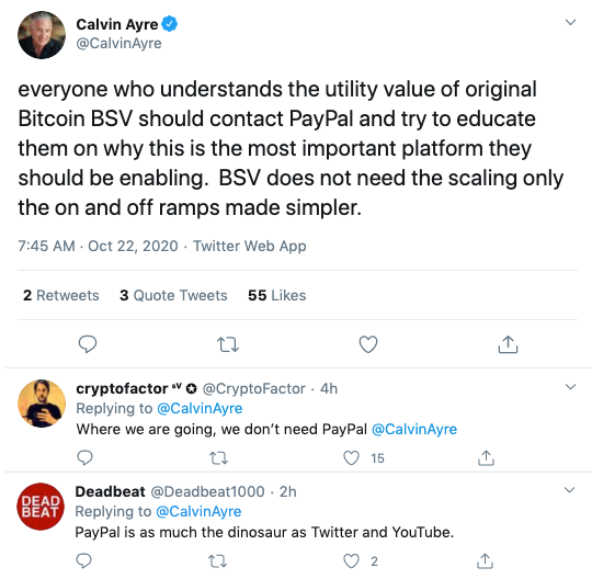 Calvin Ayre2 via Twitter on Paypal Crypto Launch