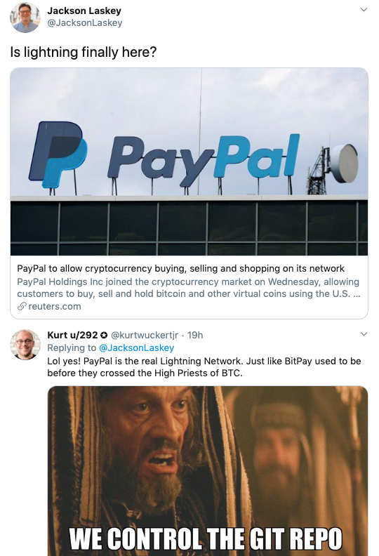 Jackson Laskey 2 via Twitter on Paypal Crypto Launch
