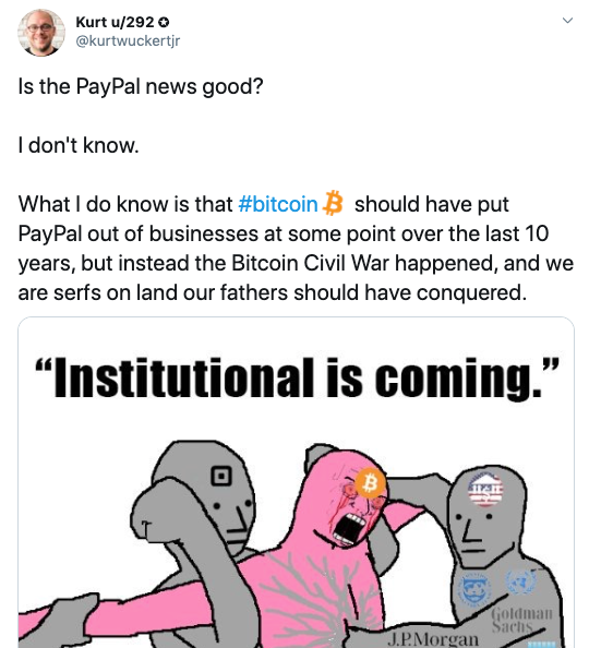 Kurt Wuckert 2B  via Twitter on Paypal Crypto Launch