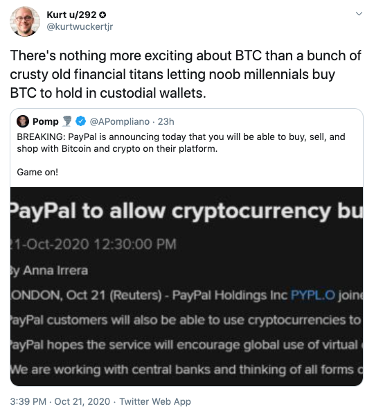 Kurt WuckertC  via Twitter on Paypal Crypto Launch