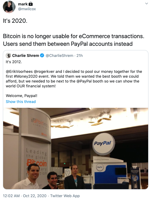 M Wilcox via Twitter on Paypal Crypto Launch