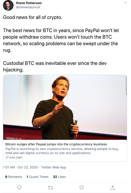 Steve in Pursuit2 via Twitter on Paypal Crypto Launch