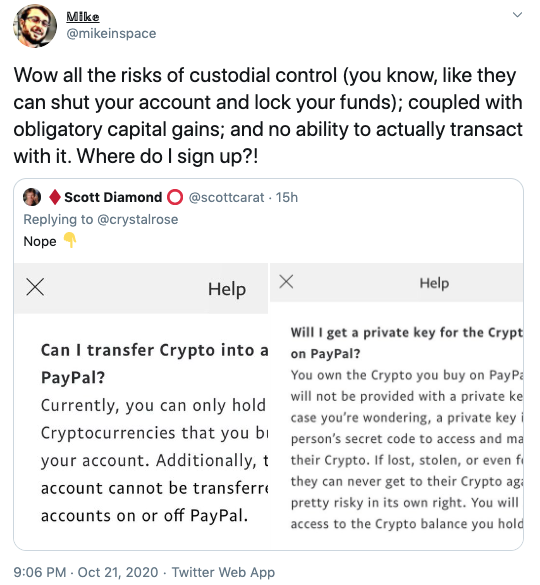 Mike in space via Twitter on Paypal Crypto Launch